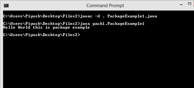 This image describes output of a program written in java along with the concept of packages in java.