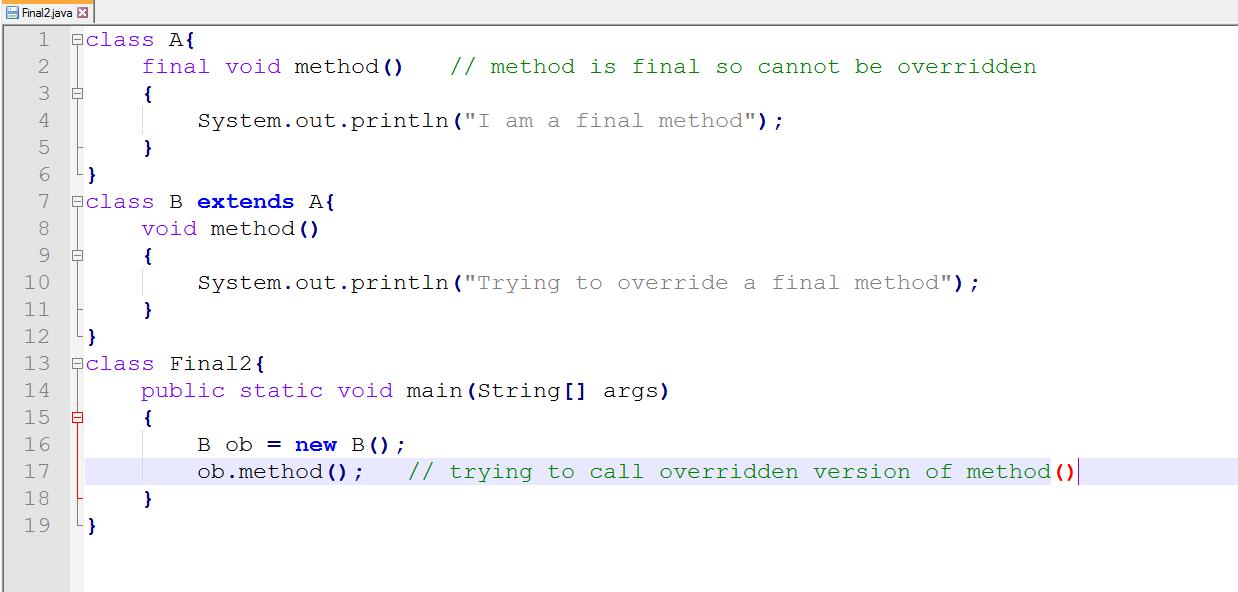 This image describes the sample program supporting the concept of final keyword with method.