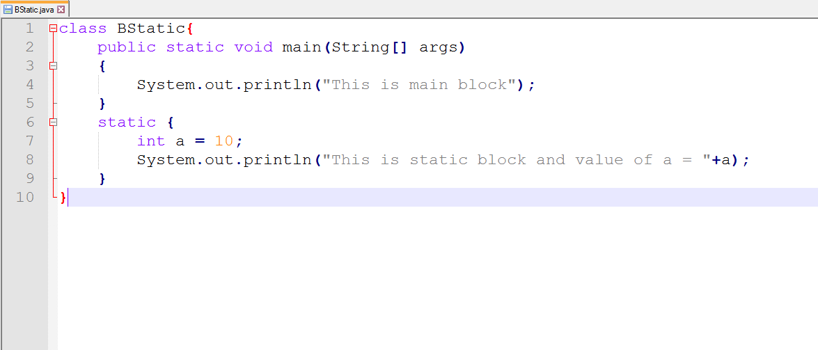 This image describes the sample program for static block under static keyword in java.
