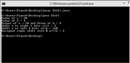 This image describes a output of sample program of shift operators in java.